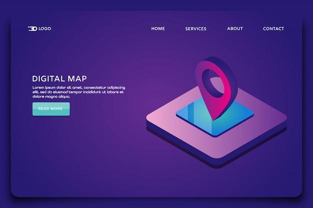 Pagina di destinazione della mappa digitale Vettore Premium