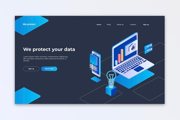 Pagina di destinazione della protezione dei dati Vettore gratuito