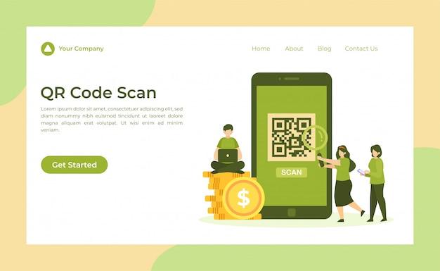 Pagina di destinazione della scansione del codice qr Vettore Premium