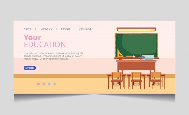 Pagina di destinazione della scuola Vettore Premium
