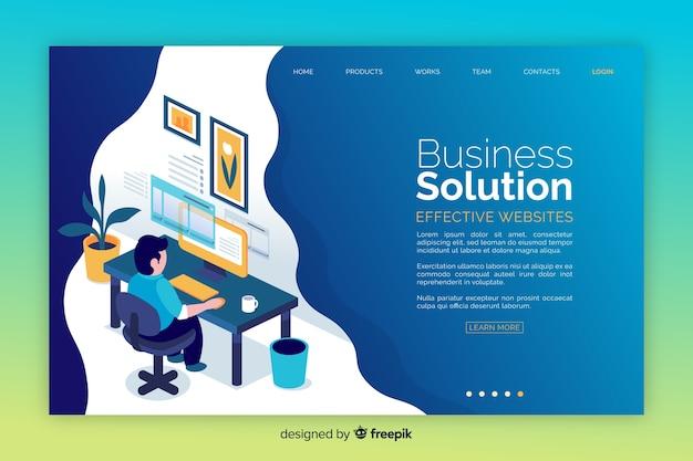 Pagina di destinazione della soluzione aziendale Vettore gratuito