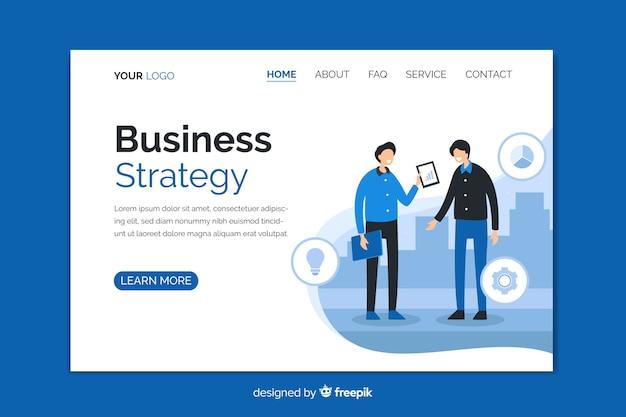 Pagina di destinazione della strategia aziendale con personaggi Vettore gratuito