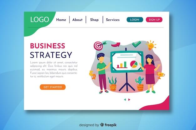 Pagina di destinazione della strategia aziendale con presentazione dei personaggi Vettore gratuito