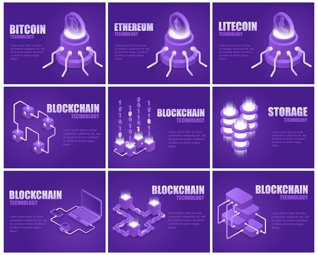 Pagina di destinazione della tecnologia blockchain impostata Vettore Premium