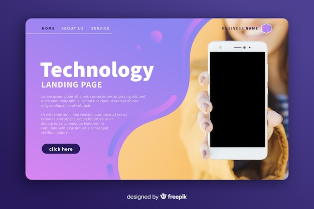 Pagina di destinazione della tecnologia con foto del telefono Vettore gratuito