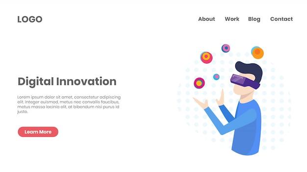 Pagina di destinazione della tecnologia di innovazione digitale Vettore Premium