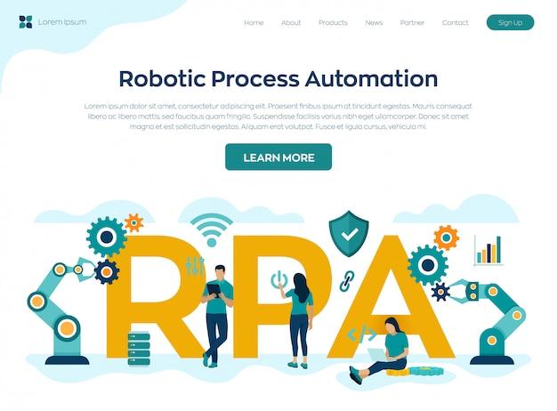 Pagina di destinazione della tecnologia di innovazione per l'automazione dei processi robotizzati rpa Vettore Premium