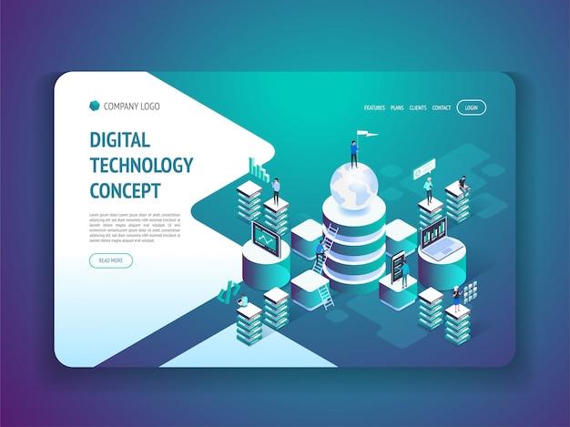 Pagina di destinazione della tecnologia digitale isometrica Vettore Premium