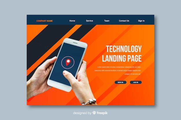 Pagina di destinazione della tecnologia smartphone Vettore gratuito