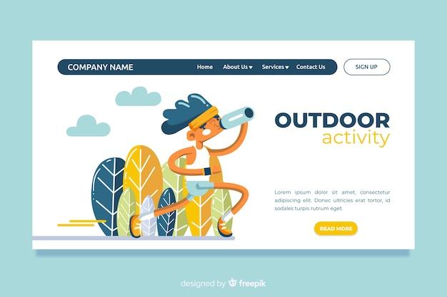 Pagina di destinazione delle attività all'aperto Vettore gratuito