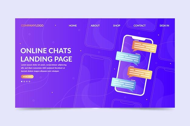 Pagina di destinazione delle chat online con messaggi Vettore gratuito