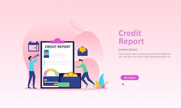 Pagina di destinazione delle informazioni sul punteggio di credito personale e del rating finanziario Vettore Premium