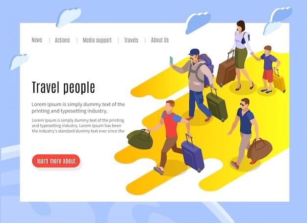 Pagina di destinazione delle persone di viaggio con informazioni di testo e isometrica dei passeggeri in ritardo con il bagaglio che corre verso il terminal Vettore gratuito
