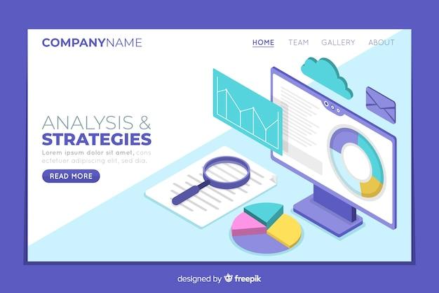 Pagina di destinazione delle strategie aziendali isometriche Vettore gratuito
