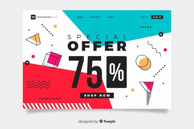 Pagina di destinazione delle vendite astratta con offerta del 75% Vettore gratuito