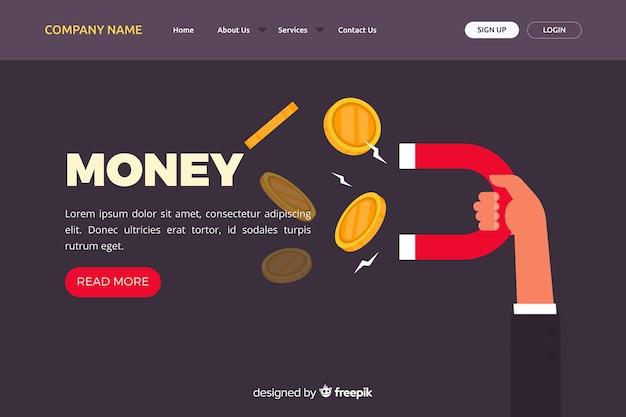Pagina di destinazione denaro piatto Vettore gratuito