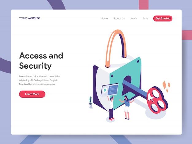 Pagina di destinazione di accesso e sicurezza Vettore Premium
