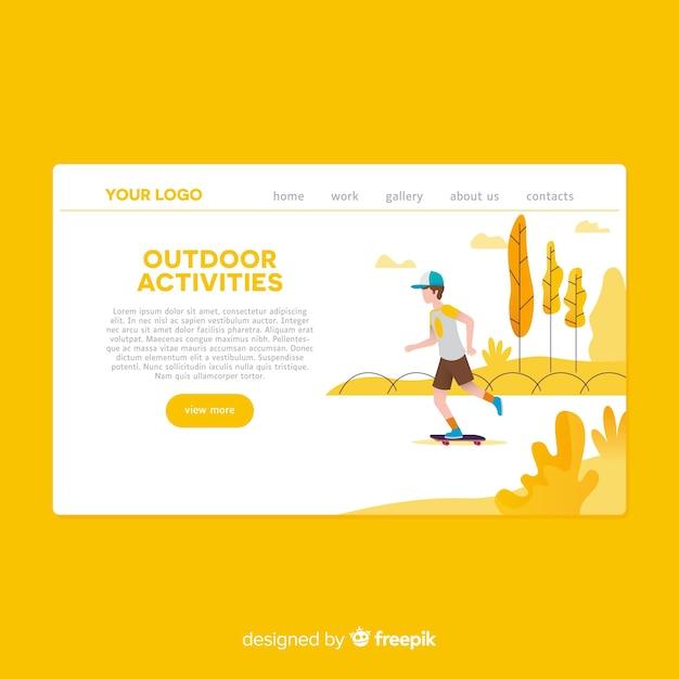 Pagina di destinazione di attività all'aperto disegnata a mano Vettore gratuito