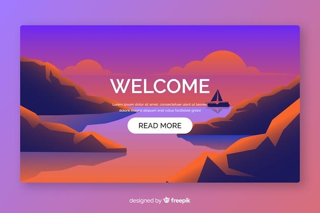 Pagina di destinazione di benvenuto con sfumatura orizzontale Vettore Premium