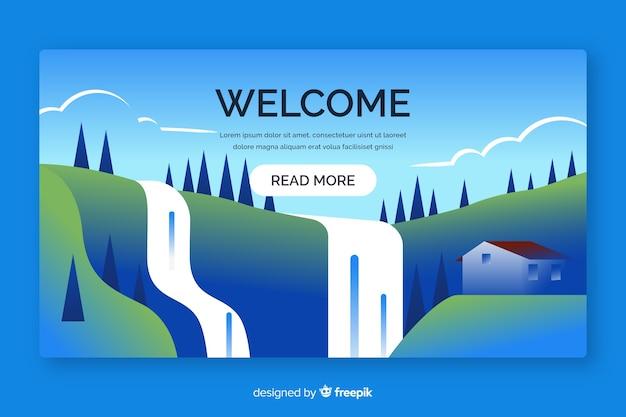 Pagina di destinazione di benvenuto con sfumatura orizzontale Vettore gratuito