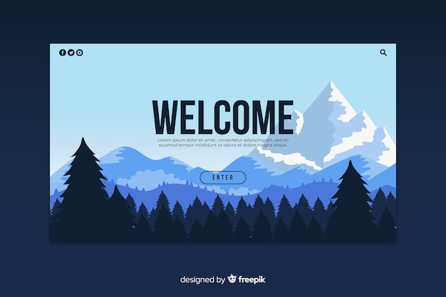 Pagina di destinazione di benvenuto con un panorama a gradiente Vettore gratuito