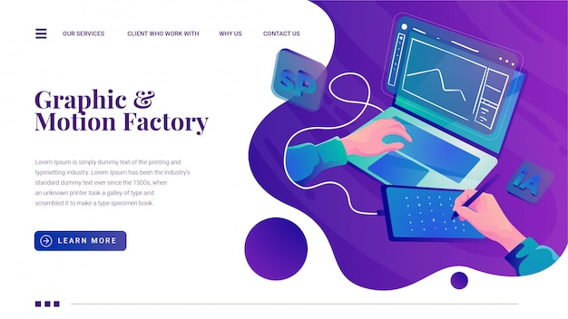 Pagina di destinazione di creative design graphic motion studio Vettore Premium