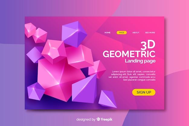 Pagina di destinazione di forme di diamante 3d Vettore gratuito