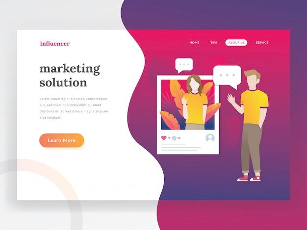 Pagina di destinazione di influencer Vettore Premium