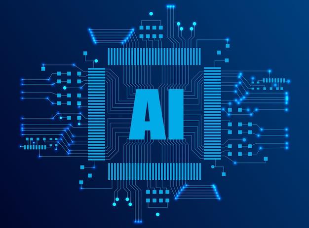 Pagina di destinazione di intelligenza artificiale Vettore Premium
