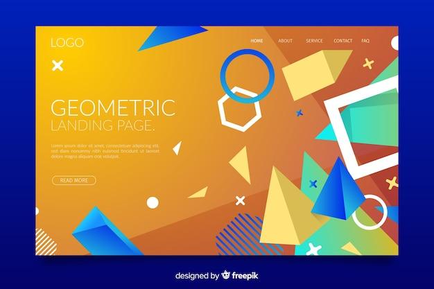 Pagina di destinazione di memphis con forme geometriche miste Vettore gratuito
