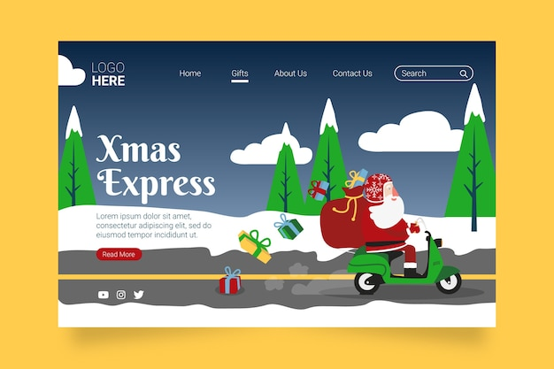 Pagina di destinazione di natale in design piatto Vettore gratuito