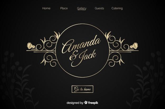 Pagina di destinazione di nozze eleganti dorate Vettore gratuito