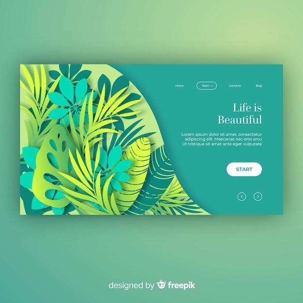 Pagina di destinazione di piante disegnate a mano Vettore gratuito