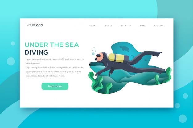 Pagina di destinazione di sea diving Vettore Premium