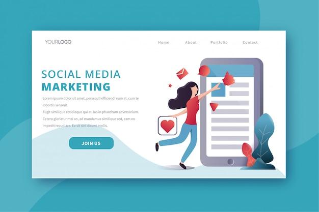 Pagina di destinazione di social media marketing Vettore Premium