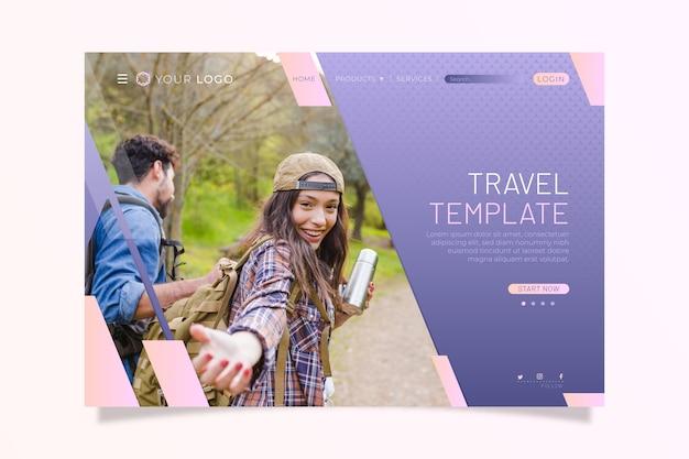 Pagina di destinazione di viaggio con foto Vettore gratuito