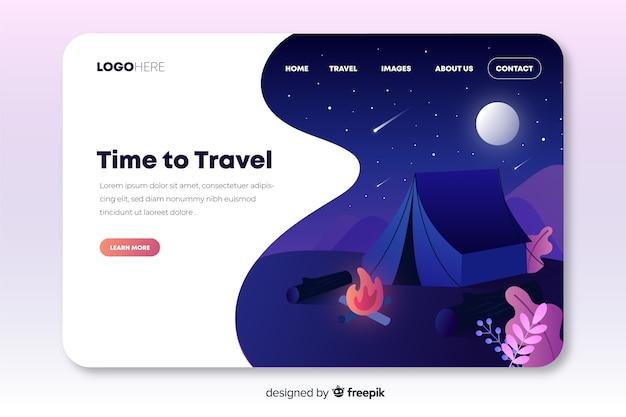 Pagina di destinazione di viaggio con una tenda Vettore gratuito