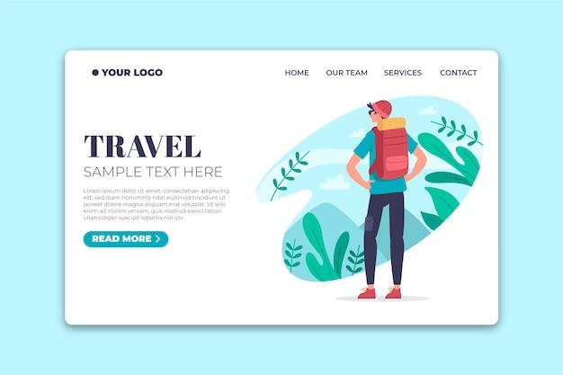 Pagina di destinazione di viaggio modello design piatto Vettore gratuito