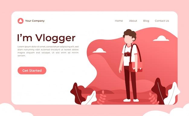 Pagina di destinazione di video blogger Vettore Premium