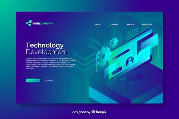 Pagina di destinazione digitale del concetto di tecnologia Vettore gratuito