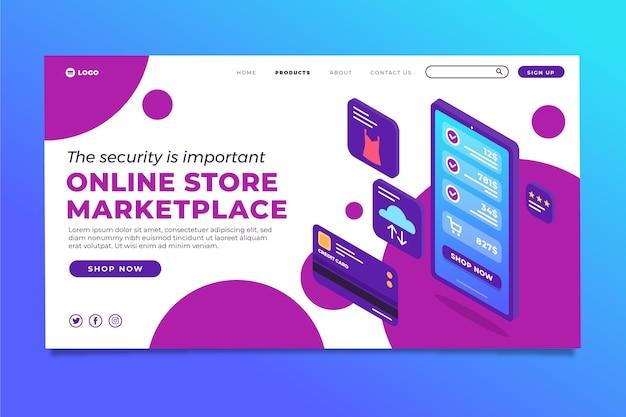 Pagina di destinazione e-commerce isometrica Vettore gratuito