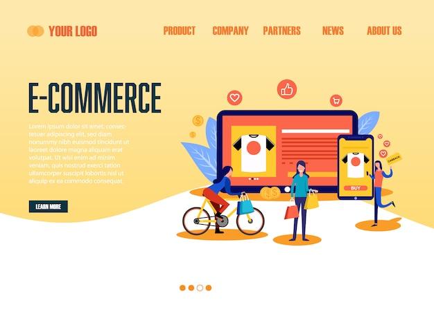 Pagina di destinazione e-commerce Vettore Premium