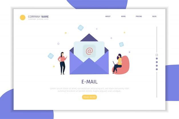 Pagina di destinazione e-mail Vettore Premium