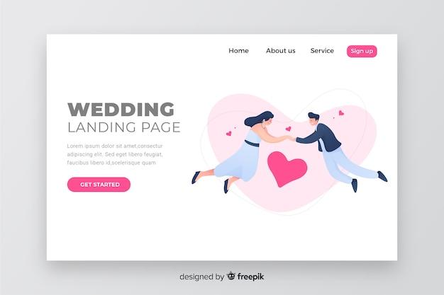 Pagina di destinazione elegante design di nozze Vettore gratuito