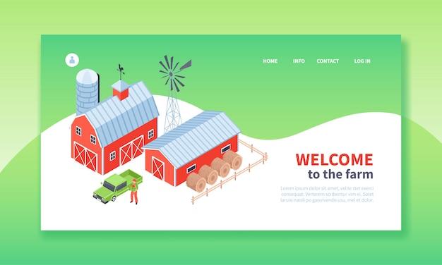 Pagina di destinazione fattoria isometrica Vettore gratuito