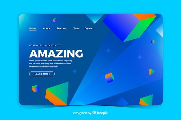 Pagina di destinazione geometrica 3d blu Vettore gratuito