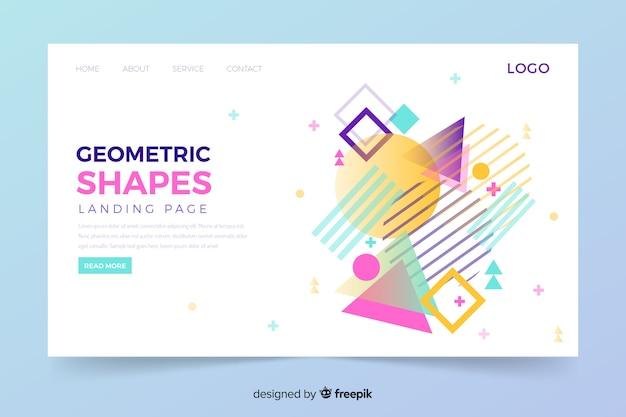 Pagina di destinazione geometrica con forme di memphis Vettore gratuito