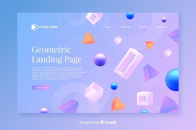 Pagina di destinazione geometrica con modelli 3d Vettore gratuito