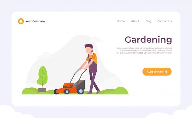 Pagina di destinazione giardinaggio Vettore Premium