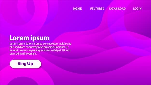 Pagina di destinazione gradiente di sfondo ondulato viola moderno Vettore Premium